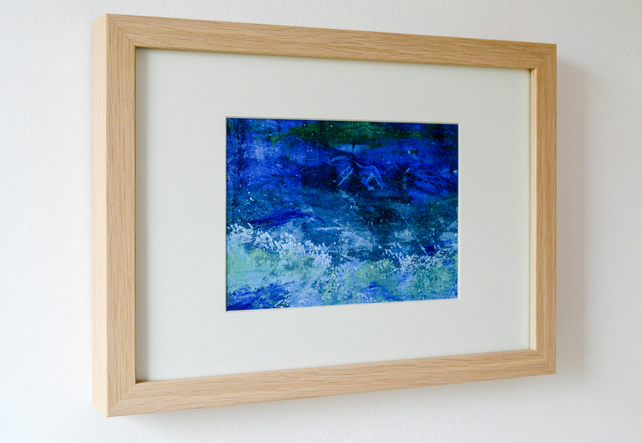 Splash Original Abstract Acrylic Seascape Painting.Framed and Glazed.