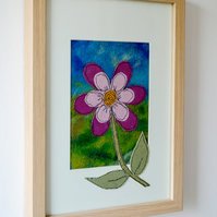 Summer Bloom Original Art Piece Felted Fleece Landscape Stitched Fabric Flower.