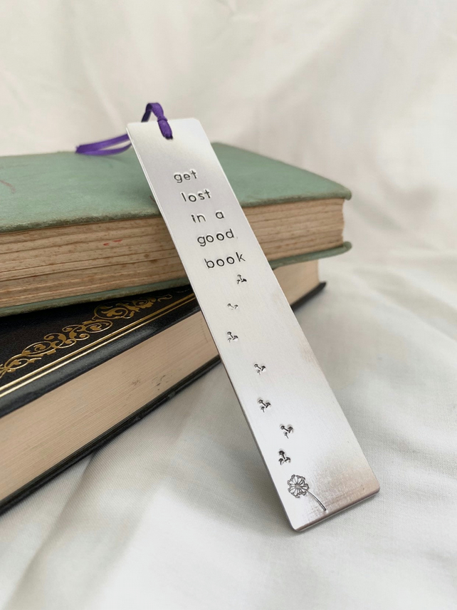 Hand Stamped Bookmark Get Lost in a Good Book Mother's Day Grandma, Grandad Gift