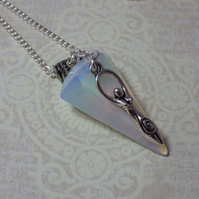 Opalite Moonstone & Goddess Pendant Necklace