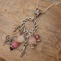 Celtic Love Talisman, Goddess Aine Cluster Pendant Necklace