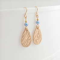 Teardrop Dangle Earrings with Swarovski Pearls and 14K Gold Filled Earwires