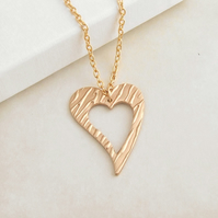 Open Love Heart Pendant Necklace for Women, Handmade Bronze