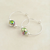 Sterling Silver Hoop Earrings with Irridescent Glass Beads