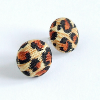 Leopard Print Stud Earrings, Animal Print Fabric and Sterling Silver