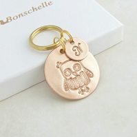 Bronze Owl Keyring with Initial Charm