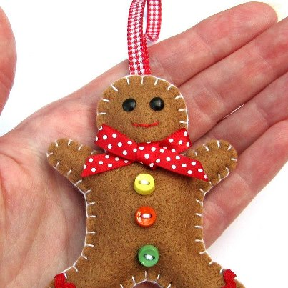 Gingerbread man christmas decoration folksy for Easy christmas crafts to sew