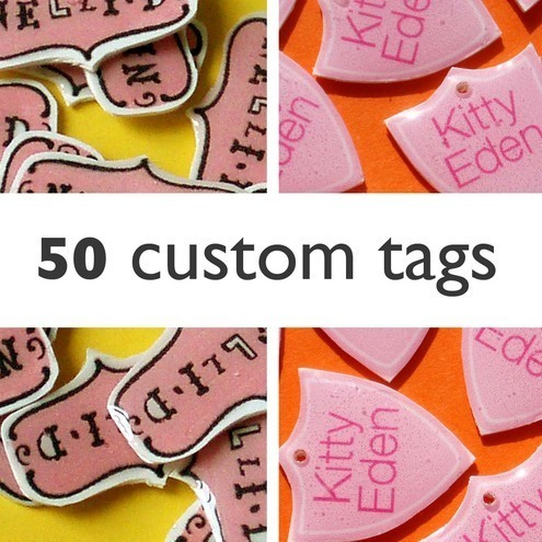 Tags for jewellery custom orders.