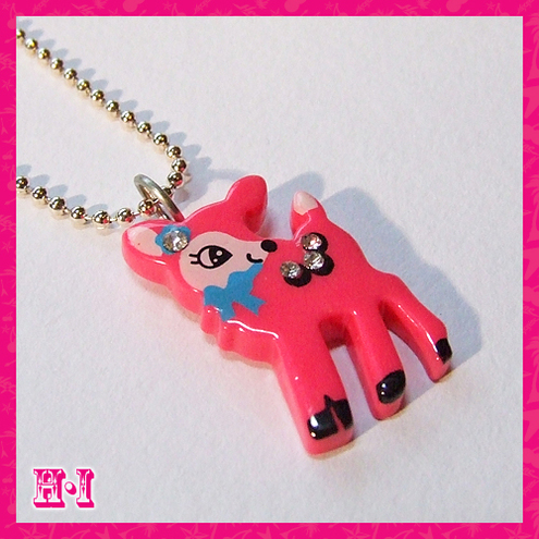 Retro Pink Deer Necklace