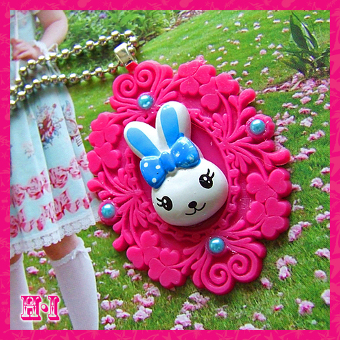 Super Kitsch and Cute Bunny Cameo Necklace
