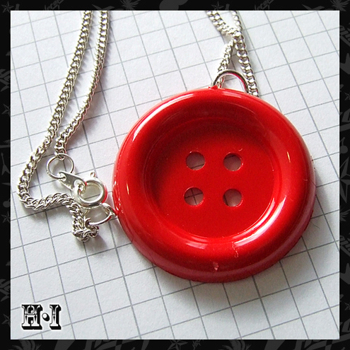 Large Red Button Necklace