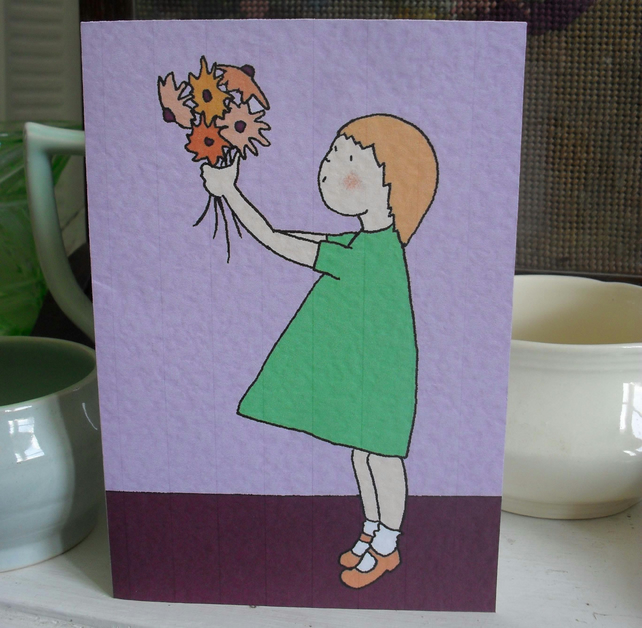 Greetings Card – Little girl with flowers