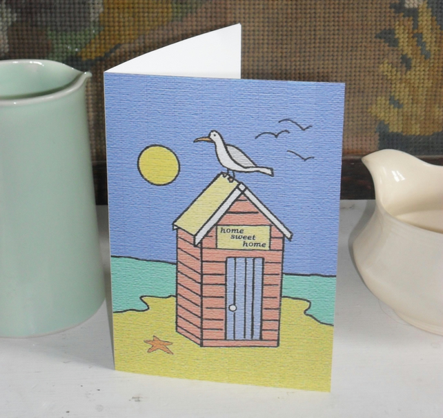 NEW HOME GREETINGS CARD – SEAGULL AND BEACHHUT