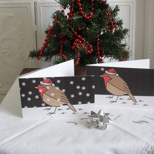 Set of six Christmas cards – Santa Robin in the midnight snow