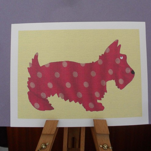 Scottie Dog A4 print – Pink Polka-dot
