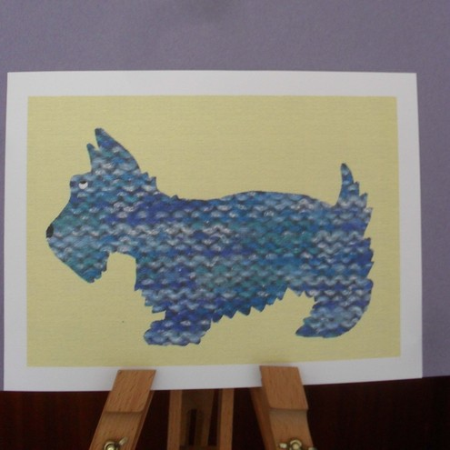 Scottie Dog A4 print – Blue Woolly Pully