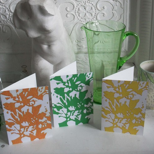 Three blank greetings cards Fizzy Azaleas