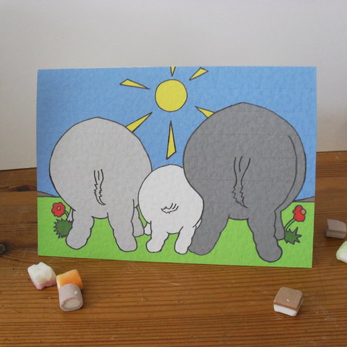 Blank greetings card - Hippos Bottoms!