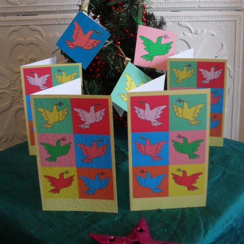 Four Christmas cards and gift tags – Peace (apologies to Picasso and Warhol)