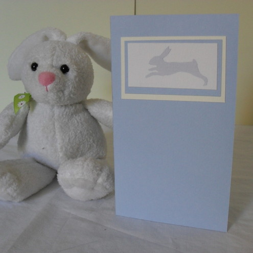 Blank greetings card - Pisanello's Rabbit in baby blue