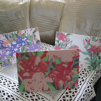 Three blank greetings cards - Azaleas in pink, and purple