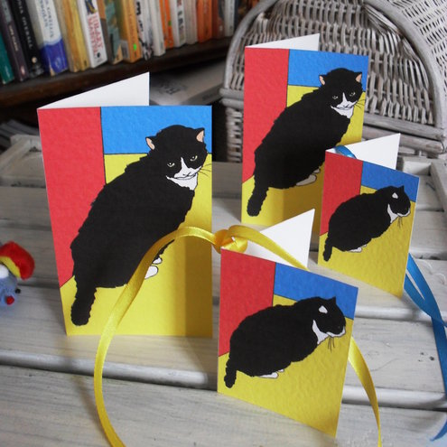 Two blank greetings cards and gift tags - Athena the Cat goes Mondrian