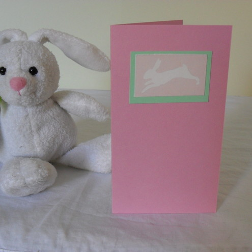 Blank greetings card - Pisanello's Rabbit in baby pink