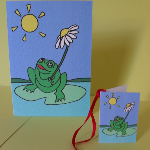 Blank greetings card and gift tag - Alfie's Frog