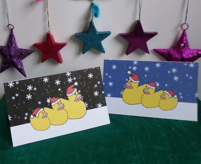 SIX CHRISTMAS CARDS – THREE WISE DUCKS (FREE POSTAGE)