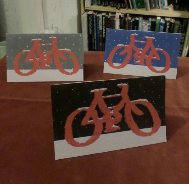 SIX CHRISTMAS CARDS – SANTA'S BIKE (FREE POSTAGE)