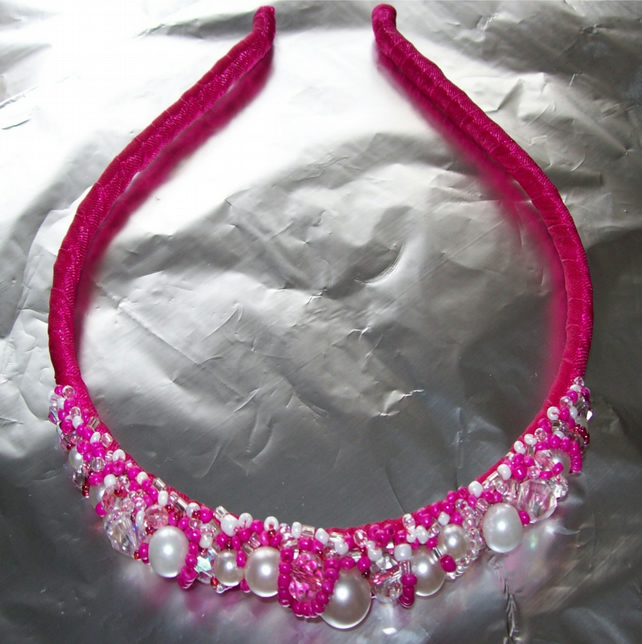 Cerise Beaded Hairband