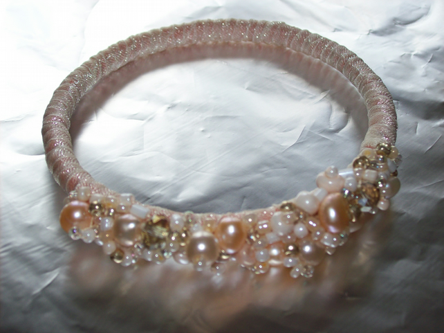 Peach Beaded Bangle