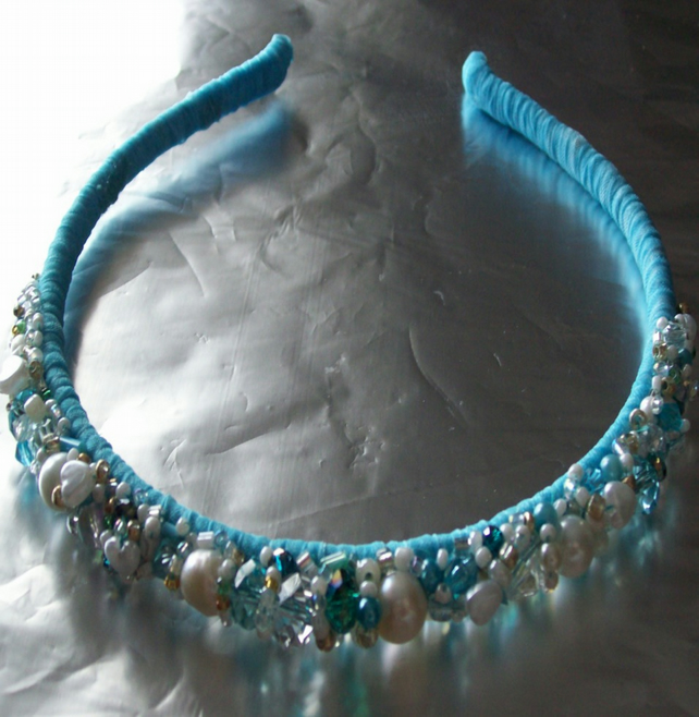 Aqua Beaded Hairband