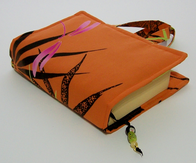 Book Cover Bag - Pink Dragonfly - Folksy