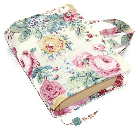 Book Cover Bag SHABBY CHIC ROSES - Folksy