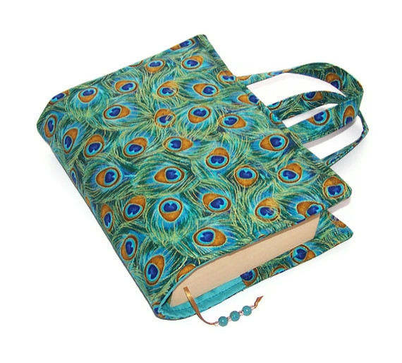Book Cover Bag PEACOCK FEATHERS - Folksy