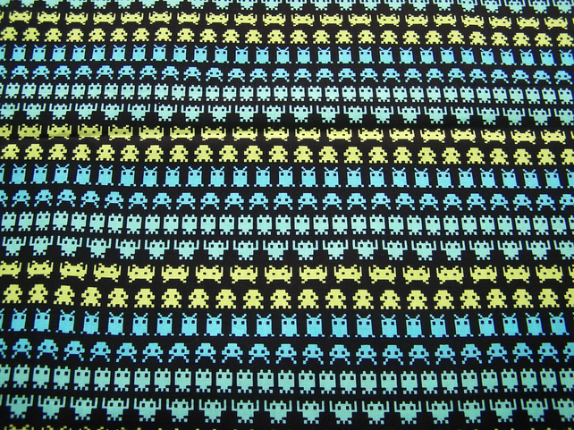 Space invaders fabric by timeless treasures folksy for Space pattern fabric