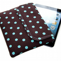 Polka Dot Ipad Mini Clutch Case Turquoise & Chocolate Brown