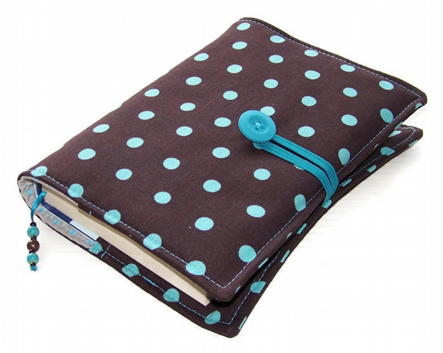 Fabric Book Cover Echino Brown with Turquoise Polka Dots