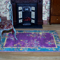 Dolls House Carpet Oriental Jade and Plum Blossom