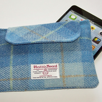Harris Tweed Ipad Mini Clutch Bag Blue Skies Tartan