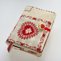 Handmade Book Cover in Patchwork Hearts