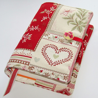 Large Book or Bible Cover in Swiss Hearts and Flowers fabric