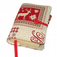 Handmade Fabric Book Cover, Swiss Deer Patchwork