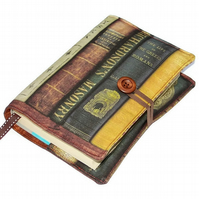 Handmade Book Cover featuring Antique Book Spines fabric, Design CC