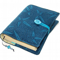 Fabric Book Cover, Blue Pampas Grass, Handmade Bible Jacket