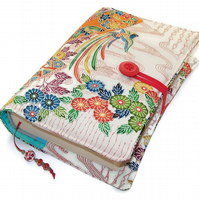 Kimono Silk Book Cover, Flying Phoenix and Chrysanthemums