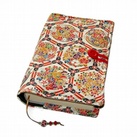 Handmade Book Cover, Chinoiserie Flowers, Bible Cover, Kimono Silk fabric