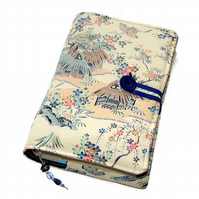 Kimono Silk BIble Cover, Book Cover, Traditional Japanese Village design