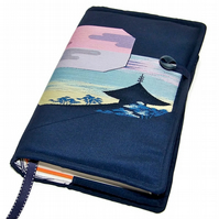 Large Bible Cover, Vintage Kimono Silk fabric, Kyoto Temple at Sunset